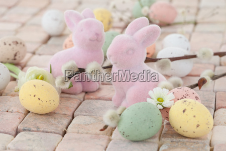 pink easter bunny and easter eggs