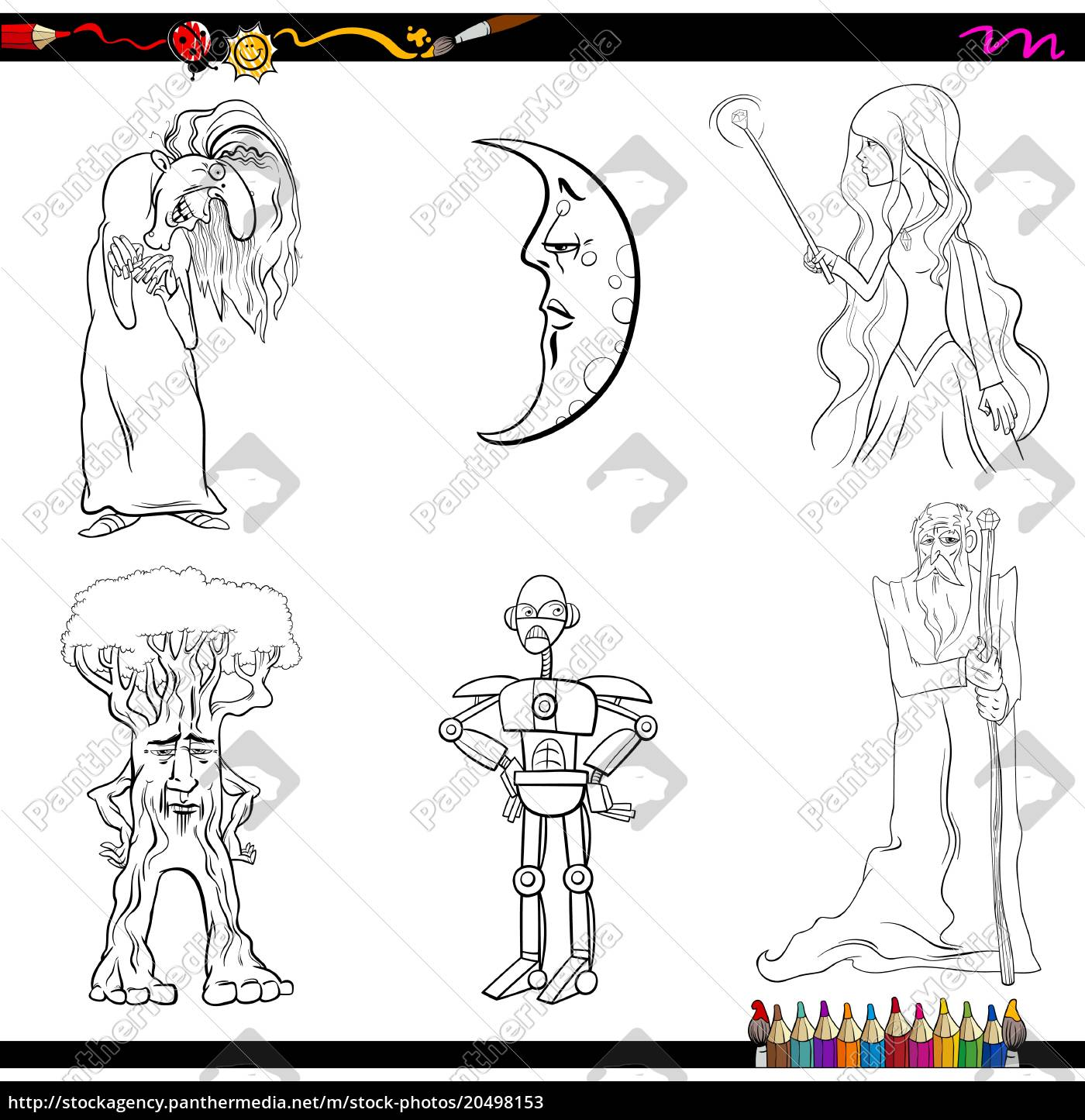 royalty free vector 18   fairy tale characters coloring