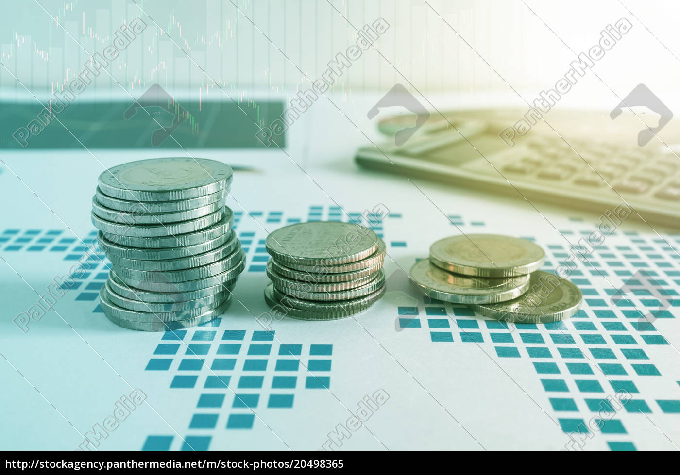 coin, stacks, and, calculator, on, paper - 20498365