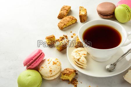 tea with cookies and macarons