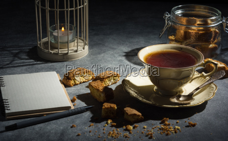 cup, of, tea, , , almond, cookies - 20502225