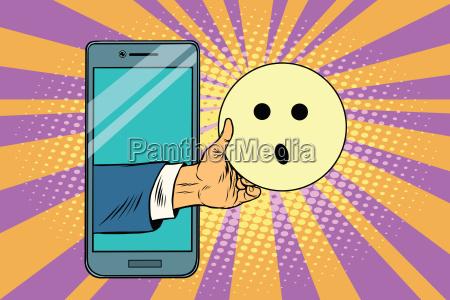 surprise emoji emoticons in smartphone