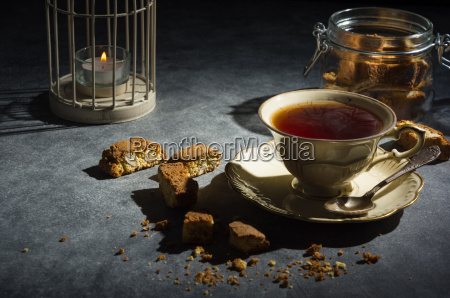 cup, of, tea, and, almond, cookies - 20506383