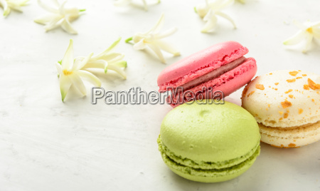 varicolored, macaroons, and, flowers., copy, space. - 20506419