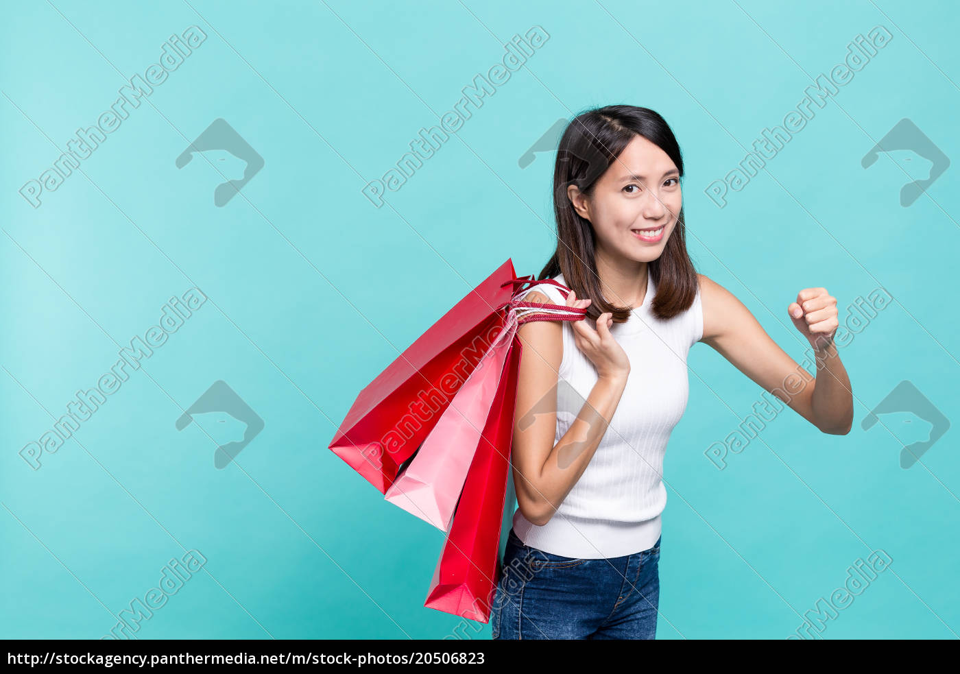 woman, holding, lots, of, shopping, bag - 20506823