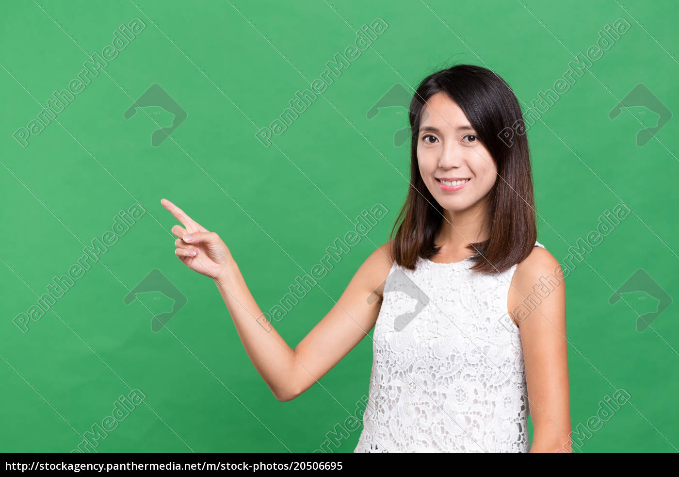 woman, showing, finger, up - 20506695