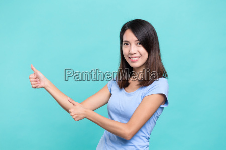 woman, showing, thumb, up, with, two - 20506683