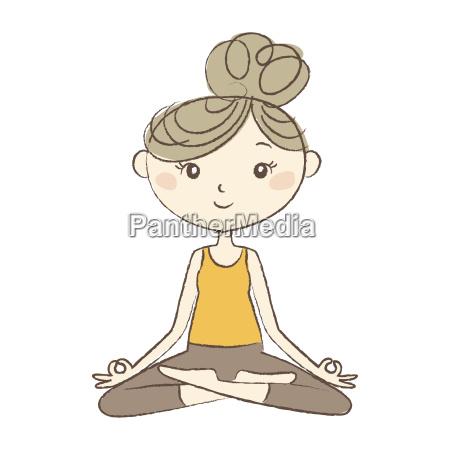 prenatal yoga pregnant woman in easy