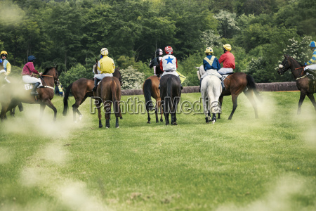 group of riders on racehorses on