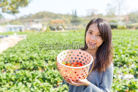 young, woman, holding, a, basket, with - 20507035