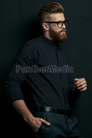 handsome bearded young stylish man in