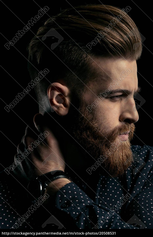 close-up, portrait, of, handsome, stylish, bearded - 20508531