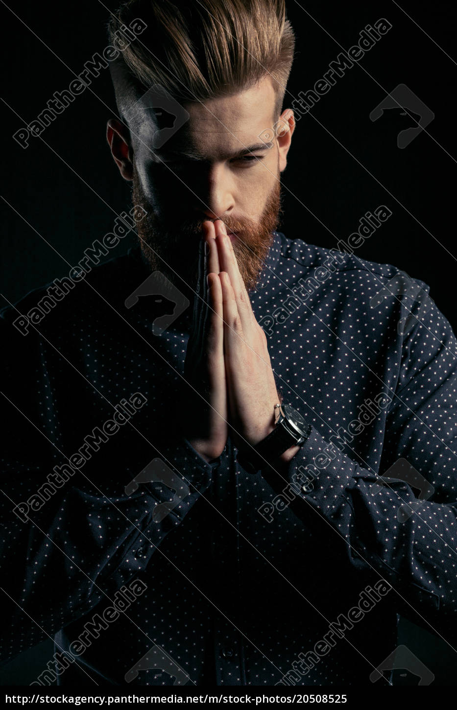 handsome, pensive, bearded, man, in, stylish - 20508525