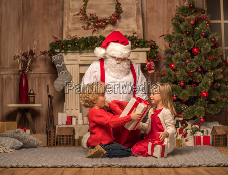 santa, claus, and, children, with, christmas - 20509657