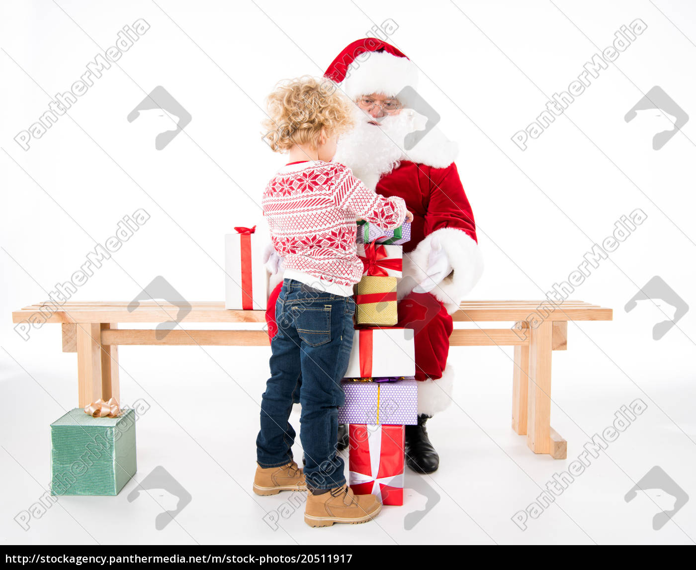 santa, claus, with, kid, and, gift - 20511917