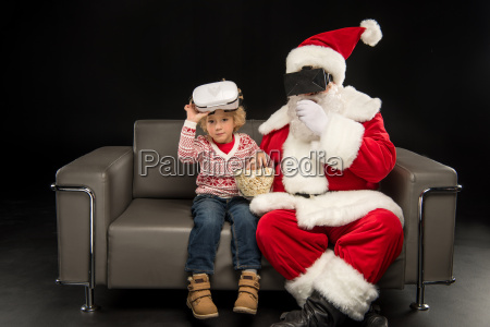 santa claus and child in virtual