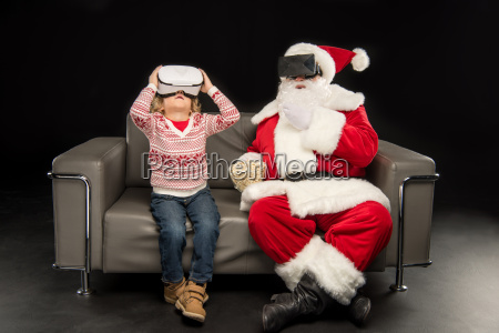 kid and santa claus in virtual