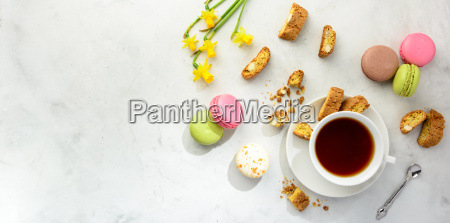 tea with cookies macaroons and