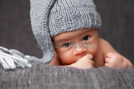 beautiful, newborn, wearing, a, cute, grey - 20512647
