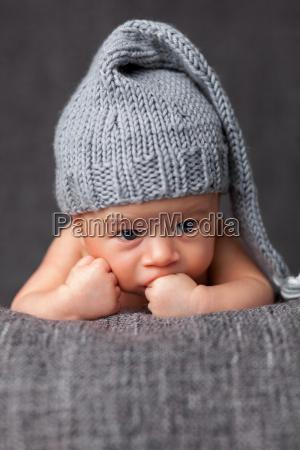 beautiful, newborn, wearing, a, cute, grey - 20512649
