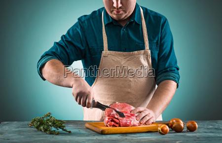butcher, cutting, pork, meat, on, kitchen - 20512201
