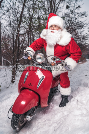 santa, claus, riding, red, scooter - 20512563