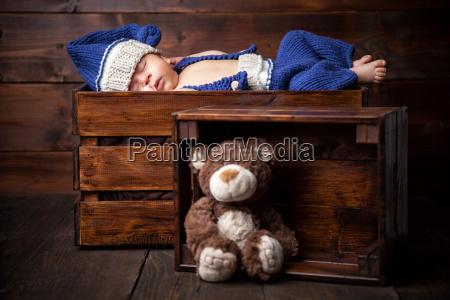sweet, little, newborn, inside, a, wooden - 20512651