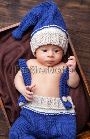 sweet, little, newborn, inside, a, wooden - 20512657