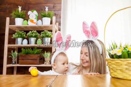 happy, mother, and, her, cute, child - 20513577