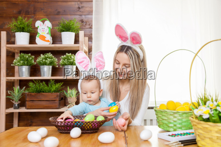 happy, mother, and, her, cute, child - 20513599