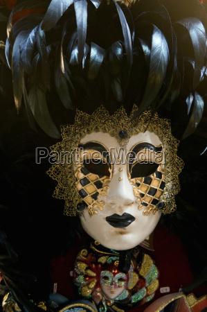 close up of ornate venetian mask