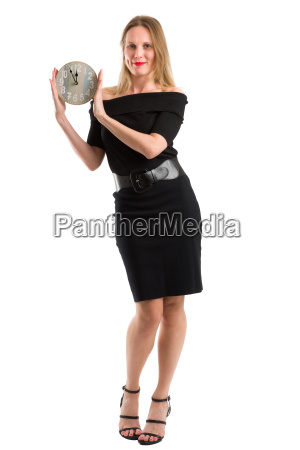 blonde woman with a clock showing