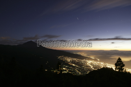 spain tenerife orotava valley at night