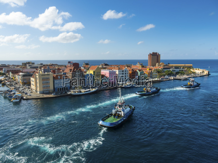 curacao willemstad punda tugboats and colorful