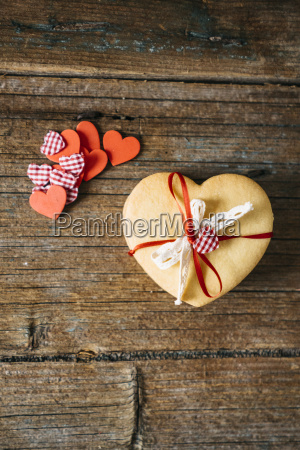stack of heart shaped shortbreads tied