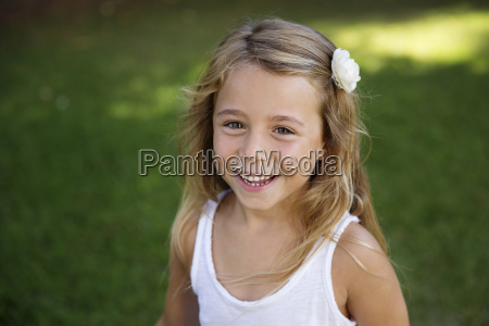portrait of blond little girl wearing