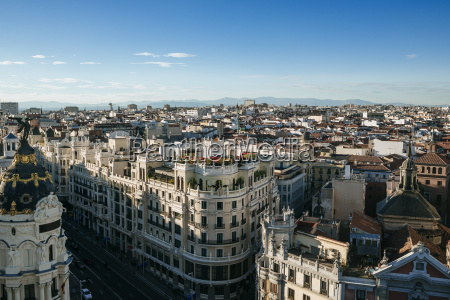 spain madrid cityscape with gran via