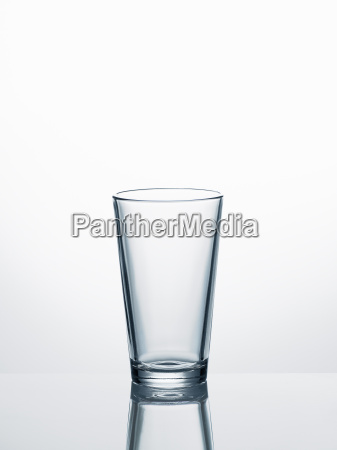empty water glass in front of