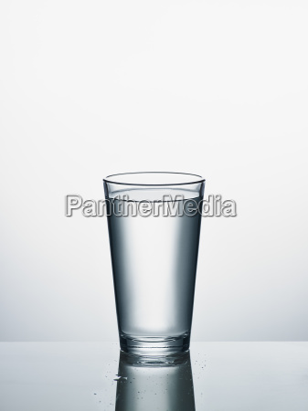 glass of water in front of
