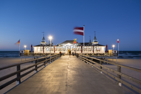 germany usedom ahlbeck lighted sea bridge