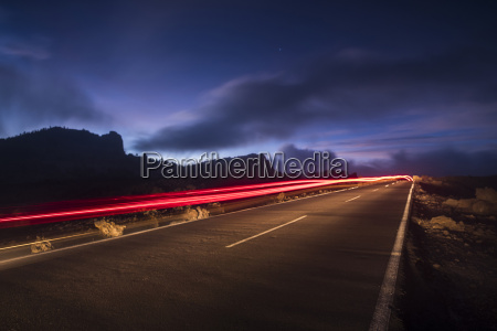 spain tenerife road with light trails