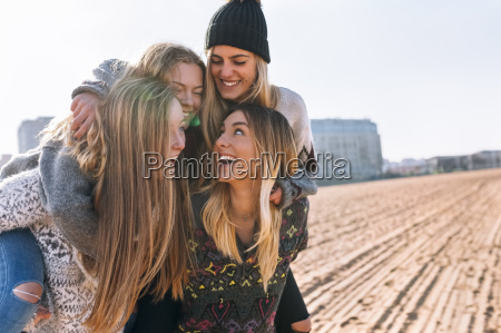 four friends having fun on the