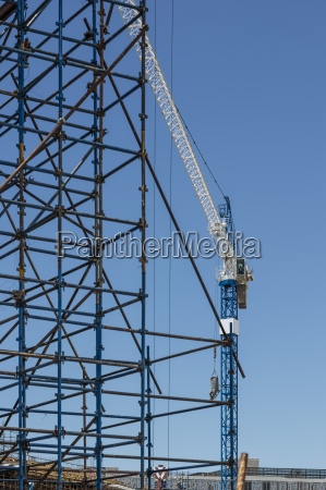 construction crane and scaffold on construction