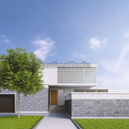 modern one family house 3d rendering