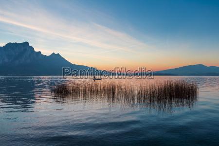 austria mondsee fishing boat on lake