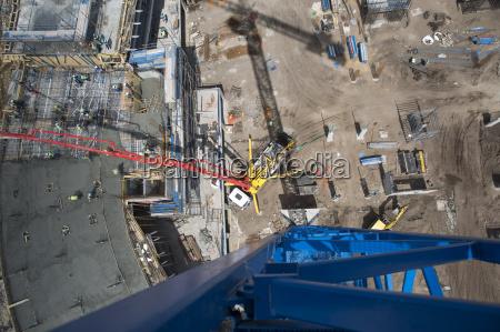 giant concrete pump on construction site