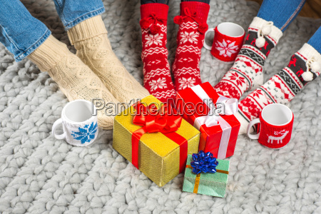 legs, in, knitted, socks, and, christmas - 20547719