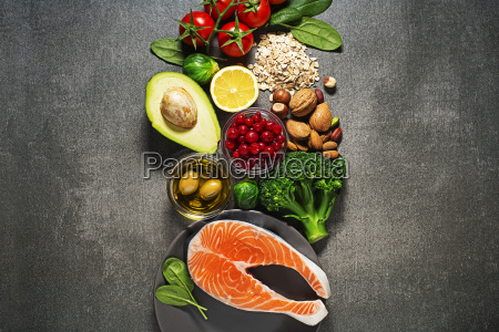 healthy food with salmon fish