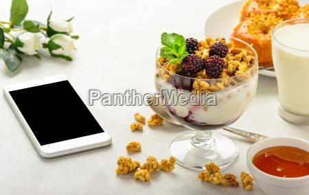 breakfast, of, granola, , buns, brioche, , honey - 20549791