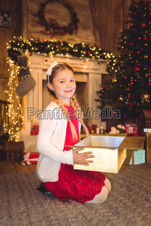 girl, opening, christmas, present - 20549697